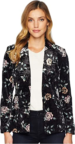 Floral Printed One-Button Jacket
