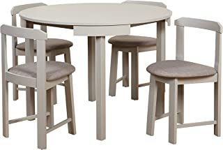 Target Marketing Systems Zuma Collection Compact Set 5-Piece Round Nesting Dining Table & Chairs, Gray