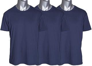 Demography Men's Basic Plain Ultra Soft Crew Neck T-Shirt Tear Away Label 3 Pack