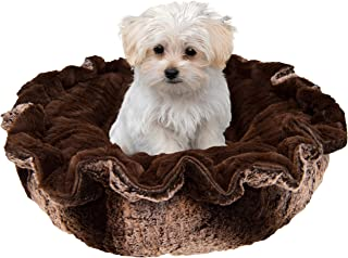 product image for Bessie and Barnie Ultra Plush Frosted Glacier/ Godiva Brown Deluxe Luxury Dog/Pet Lily Pod Bed Machine Washable