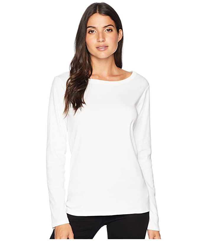 Long Sleeve Cotton Rib Crew (White) Women's Clothing