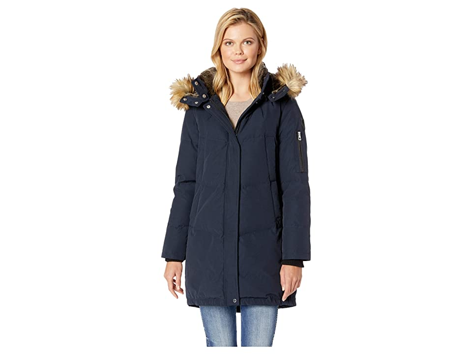 Vince Camuto Heavy Weight Down with Faux Fur Hood and Trim R1011 (Navy) Women's Coat