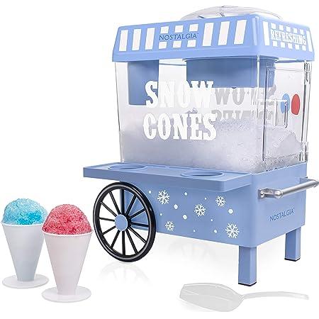Nostalgia SCM525BL Vintage Countertop Snow Cone Maker Makes 20 Icy Treats, Includes 2 Reusable Plastic Cups & Ice Scoop – Blue