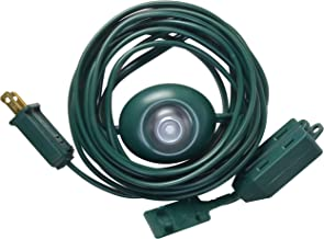 Woods 10203 Indoor Extension Cord With Lighted Foot Switch And 3 Outlets, Foot Switch Features Indicator Light, Protective Swivel Safety Covers, Versatile Use, 15 Foot, 120 Volts, Green