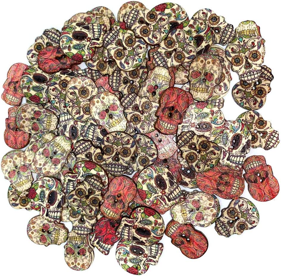 Wood Buttons Skull Novelty Buttons for Themes Holidays and Seaso