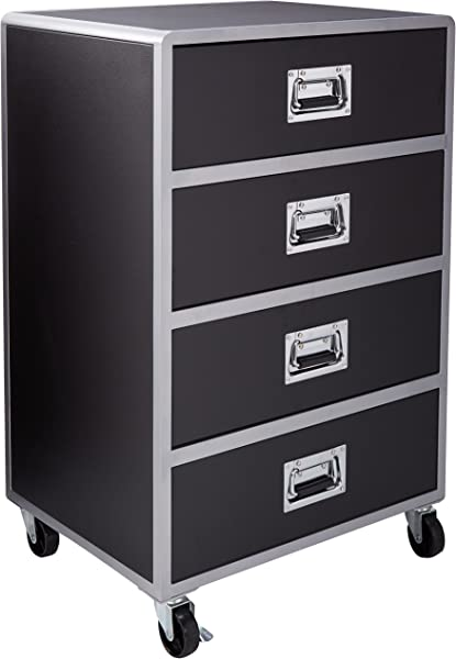 LeClair 4 Drawer Chest With Casters Black And Silver