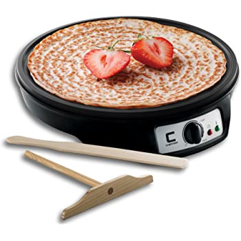Chefman Electric Crepe Maker Griddle: Precise Temperature Control for Perfect Blintzes, Pancakes, Eggs, Bacon and more, 12 Inch Non-Stick Grill Pan, Includes Batter Spreader & Spatula, Black