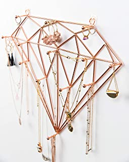 Ruby Mae Jewelry Wall Organizer   Diamond Rose Gold Jewelry Organizer for Necklaces, Bracelets, Earrings, Rings   Necklace...