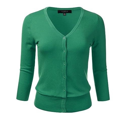 c833fc1ff592e FLORIA Women s Button Down 3 4 Sleeve V-Neck Stretch Knit Cardigan Sweater (