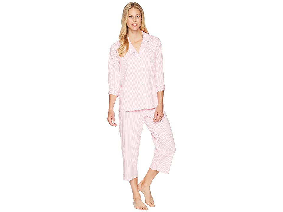 LAUREN Ralph Lauren Essentials Bingham Knits Capri PJ Set (Pink/White Stripe) Women