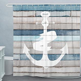 Adecuado Nautical Shower Curtain Set Anchor Bath Curtain...