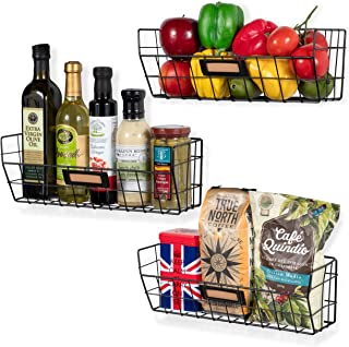 Wall35 Macon Wall Mounted Kitchen Storage Metal Wire Fruit Basket Black (3)