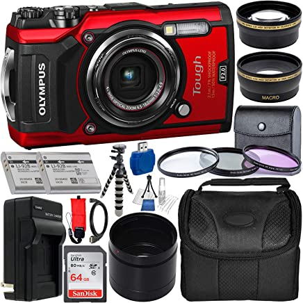 $469 » Olympus Tough TG-5 Digital Camera (Red) with Deluxe Accessory Bundle – Includes: SanDisk Ultra 64GB SDXC Memory Card + 2X Spare Batteries with Charger + Flexible Gripster Tripod + Adapter Tube + More