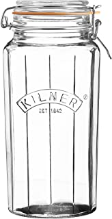 Kilner Glassware Facetted Clip Top Jar, Airtight Seal for Pickling, Preserving, and Storing, 63-1/2-Fluid Ounces
