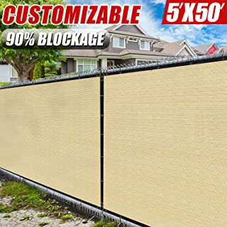 Amgo 5' x 50' Beige Fence Privacy Screen Windscreen,with Bindings & Grommets, Heavy Duty for Commercial and Residential, 90% Blockage, Cable Zip Ties Included, (Available for Custom Sizes)