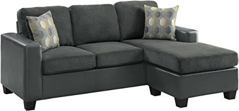 Homelegance Slater Two Tone Reversible Chaise Sofa, Gray