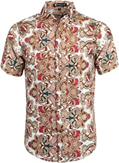 Men Slim Fit Floral Print Short Sleeve Button Down Beach Hawaiian Casual Aloha Shirt