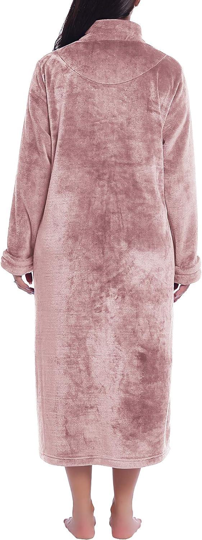 Joyaria Womens Zip Up Fleece Robe Long Plush Bathrobe Soft Warm House Coat