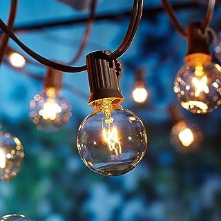 16.6 Metros Guirnaldas Luminosas de Exterior,G40 50+10pcs Bombillas Luces de la Secuencia del Jardín al Aire Libre,Decorative String Luces de Patio,Garden Terrace Luces de Patio de Navidad