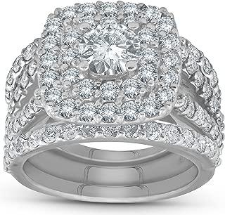 3 ct Diamond Engagement Wedding Double Cushion Halo Trio Ring Set 14k White Gold