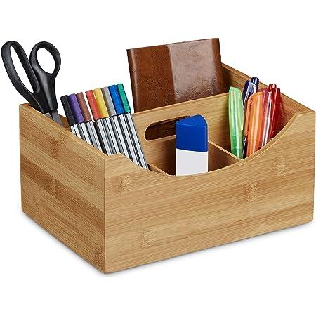 Relaxdays Organiseur de bureau en bambou, Pot à crayons, 4compartiments, poignée, bois naturel Grain, taille: ca 12x 25x 18cm, Marron naturel