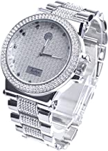 XL Rapper Lab Diamond Hip Hop Luxury Bling Silver Plated Metal Band Watches WM 8306 S