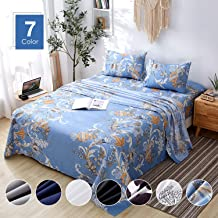 Agedate 4 Piece Brushed Microfiber Bed Sheets Set, Deep Pocket Bed Sheets Queen, Hypoallergenic, Easy to care, Fade, Stain and Wrinkle Resistant, Queen Size, Blue Floral Patterned