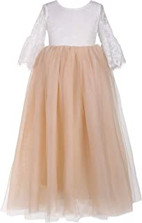 Flower Girls Straight Tutu Tulle Maxi Dress Rose Lace Princess Party Dresses