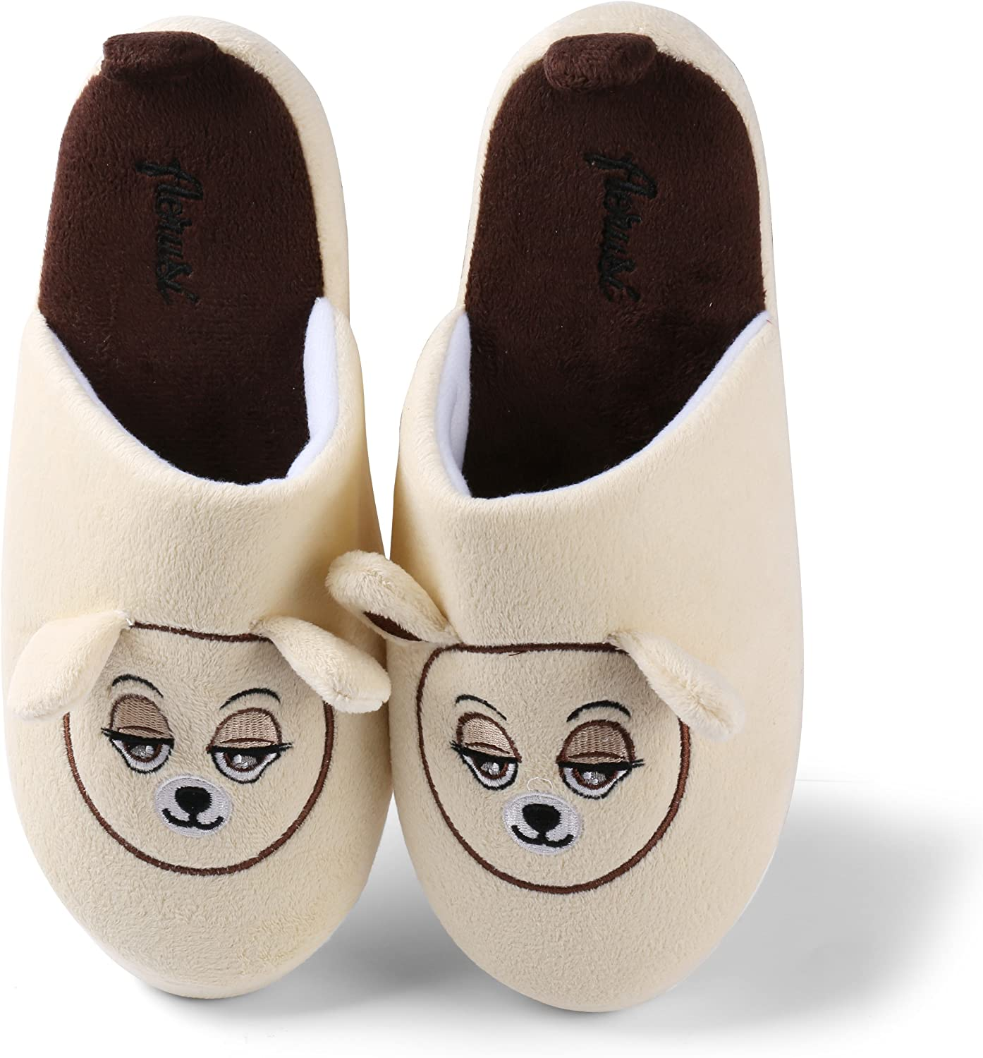 Aerusi SEC111041 Men or Women's Adult Teddy Bear Slippers, Beige, 9-10