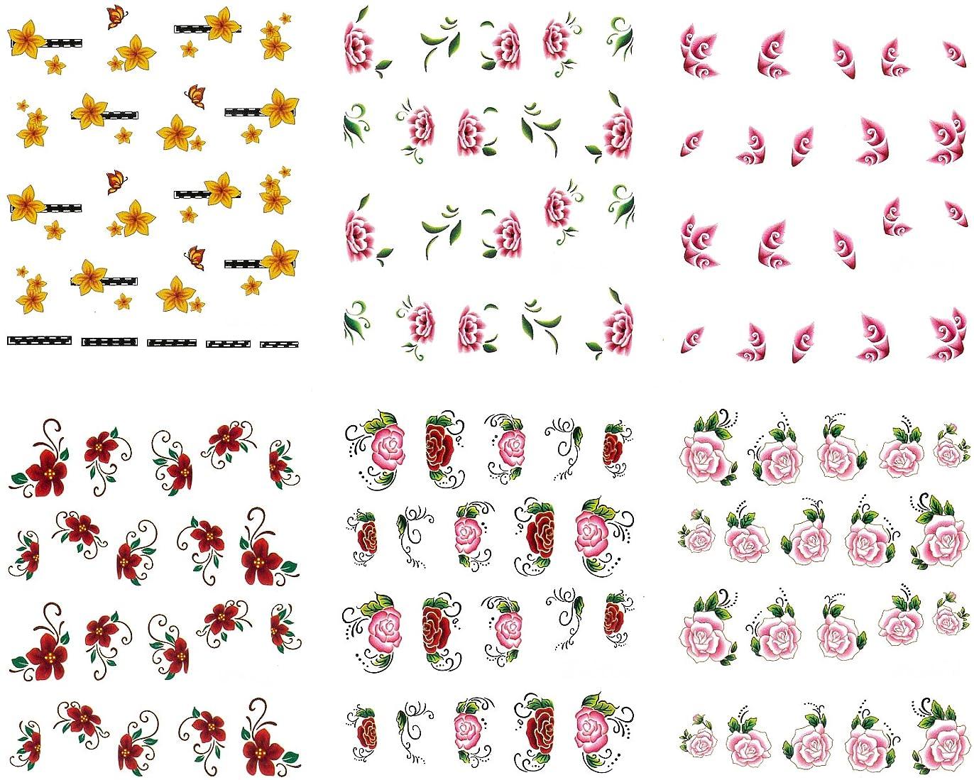 周りマトン忠誠リアルフォト ウォーターネイルシール 花柄11種 極薄?重ね貼りOK (set-2)