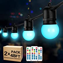 2-Pack 48FT RGB LED Outdoor String Lights, Remote Control Dimmable String Lights, 30+5 G45 Edison Shatterproof Bulbs, Wate...