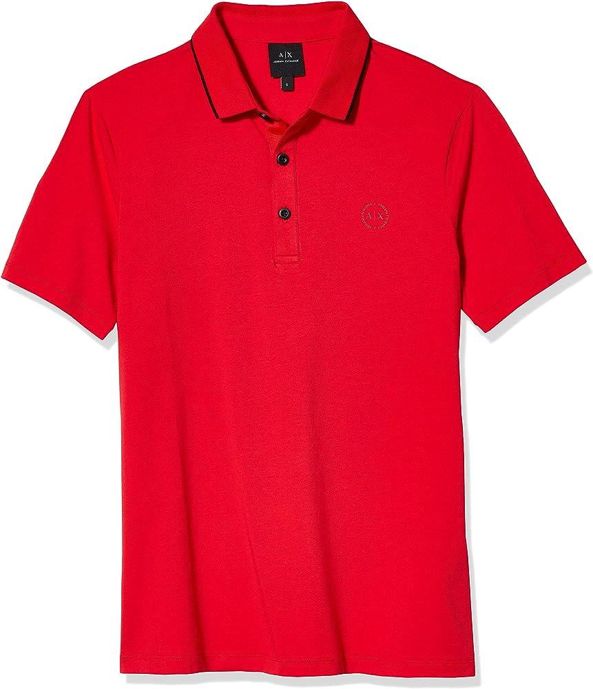 Armani exchange polo, maglietta per  uomo a maniche corte, 95% cotone, 5% elastan, rossa 8NZF70Z8M9ZE