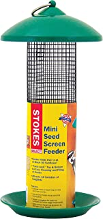 Stokes Select Mini Mesh Screen Bird Feeder with Metal Roof, Green, 1.2 lb Seed Capacity