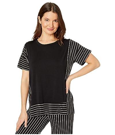Donna Karan Modal Spandex Jersey Short Sleeve Top (Black) Women