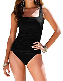 e3ca189b57de5 Firpearl Women s Black One Piece Bathing Suit Ruched Tummy Control Swimsuit