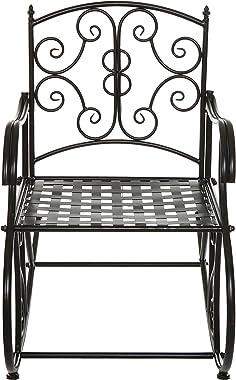 Black Metal Scrollwork Design Decorative Outdoor Patio / Garden / Deck Rocking Chair