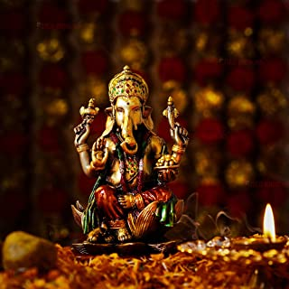 TIED RIBBONS Lord Ganesha Sitting on Lotus Statue Indian God Ganesha Sculpture Collectible Figurine for Home Décor Pooja R...