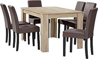 [en.casa] Table à Manger chêne Brilliant avec 6 chaises Marron Cuir-synthétique rembourré140x90