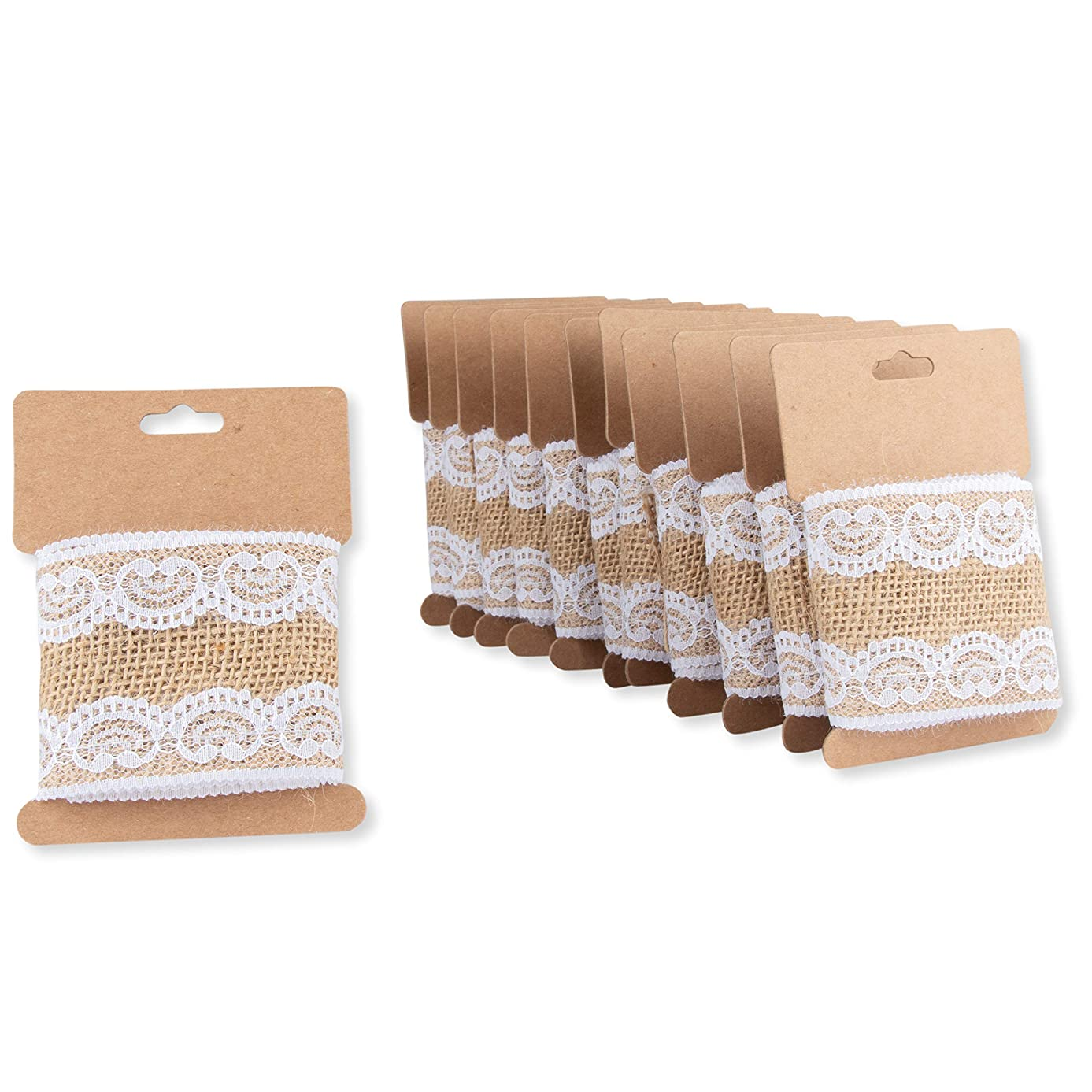 Burlap Fabric Roll - 12-Pack 2.44-Inch Brown Burlap Ribbon with White Laces for Crafts, 1.09 Yards Each