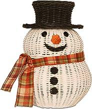 G6 COLLECTION Rattan Snowman Storage Basket With Lid Decorative Bin Home Decor Hand Woven Shelf Organizer Cute Handmade Ha...