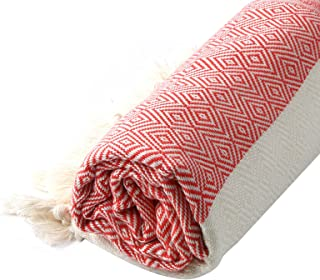 Turkish Cotton Diamond Weave Pestemal Bath Towel by Cacala Red