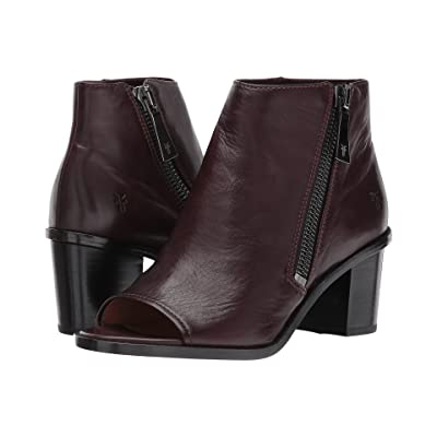 Frye Brielle Zip Peep Bootie (Wine Polished Soft Full Grain) Women