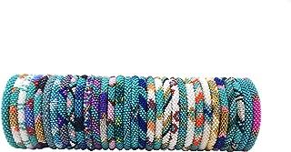 Handmade Crochet Glass Seed Bead Nepal Boho Bracelet - Wholesale Turquoise Scheme