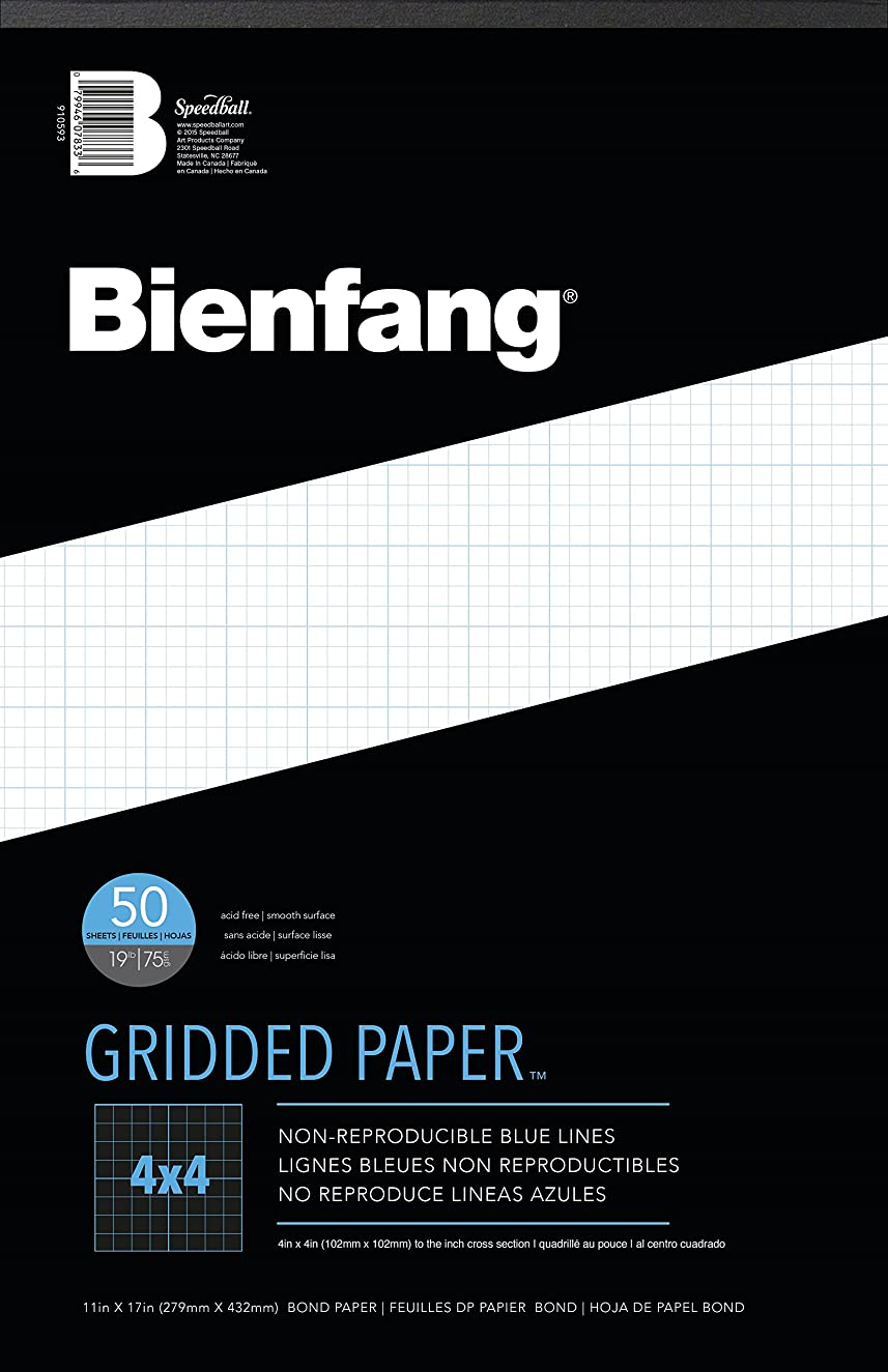 Bienfang Designer Grid Paper, 50 Sheets, 11-Inch by 17-Inch Pad, 4 by 4 Cross Section
