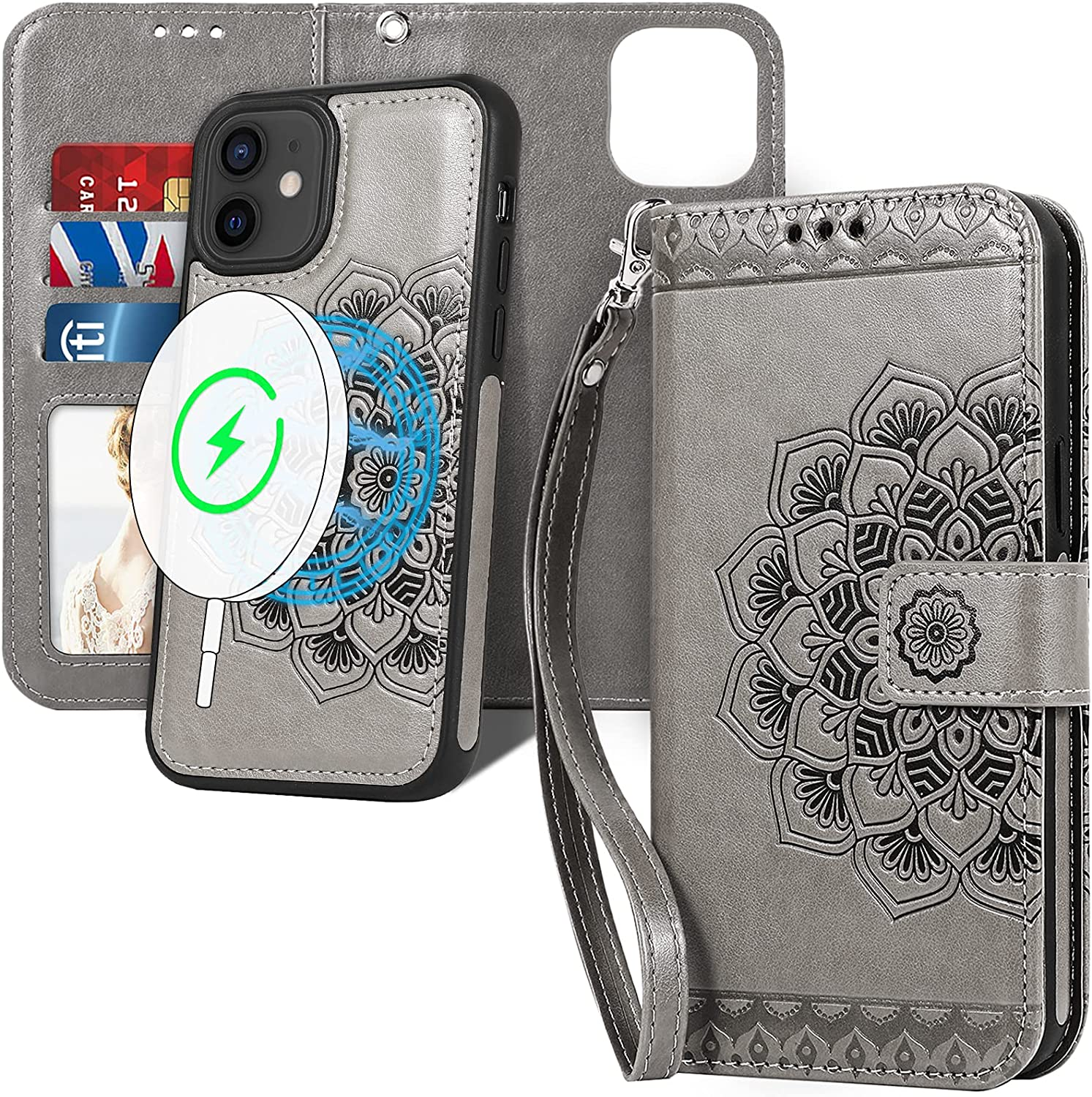 CASEOWL Compatible for iPhone 12/12 Pro Wallet Case, Magnetic Detachable [Support Magsafe Charger] with RFID Blocking Card Holder, Strap, Embossed Mandala Flower Floral Leather Wallet Phone Case,Gray