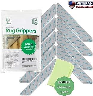 Non Slip Rug Gripper Pads 16 Reusable Corner Carpet Tape Grippers - Adhesive No Skid Anti Slip Pad for Hardwood or Laminate Floors - Sticky Nonslip Grip Anchors for Never Curl Area Rugs & Runner Edges