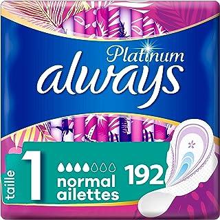 Always Platinum Normal, Serviettes Hygiéniques, Taille 1 avec Ailettes, Format Eco x192 (16 packs de 12 unités)