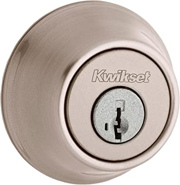 Kwikset Single Cylinder Deadbolt with SmartKey, Satin Nickel Finish