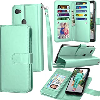 Pixel 3A Case, Wallet Case for Google Pixel 3A, Tekcoo Luxury Cash Credit Card Slots Holder Carrying Folio Flip PU Leather Cover Cases [Detachable Magnetic Hard Case] & Kickstand Strap [Turquoise]