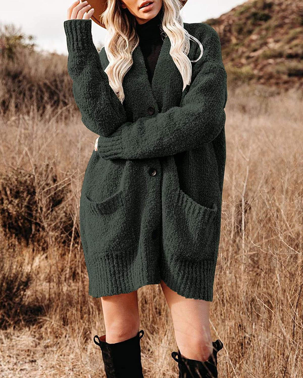 Womens Open Front Knit Cardigan Sweaters Chunky Long Sleeve Outwear Coat Popcorn Button Down Sweater with Pockets